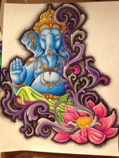 beautiful Ganesha tattoo artwork