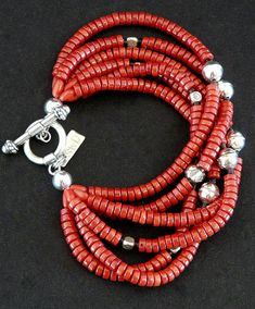 Red Coral Heishi 6-Strand Bracelet with Sterling Silver