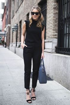 Summer work outfits, casual work outfits и affordable work clothes. Black Work Outfit, Casual Work Outfits, Work Attire, Work Casual, Casual Chic, Casual Wear, All Black Business Casual Outfits, Black Slacks Outfit, Black On Black Outfits
