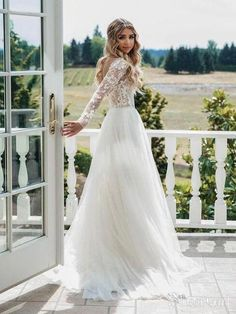 Long sleeve see through lace rustic wedding dresses. The post Long sleeve see through lace rustic wedding dresses. Vintage Inspired Wedding Dresses, Country Wedding Dresses, Long Wedding Dresses, Tulle Wedding, Boho Wedding Dress, Bridal Dresses, Maxi Dresses, Vintage Weddings, Elegant Wedding