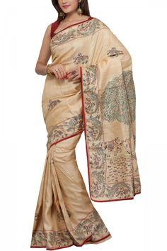 Cream Madhubani Pashmina Tussar Silk Saree