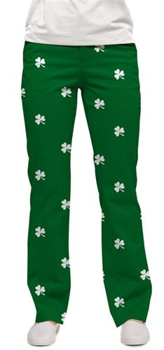 44d239bcd Womens Made-To-Order Pants by Loudmouth Golf - Shamrocks. Buy it @  ReadyGolf.com