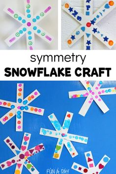 Preschoolers will get to learn about symmetry and other early math concepts while creating a colorful snowflake craft this winter. Creative Activities For Toddlers, Winter Activities For Kids, Winter Crafts For Kids, Craft Activities, Preschool Crafts, Art For Kids, Winter Ideas, Creative Kids, Kids Crafts