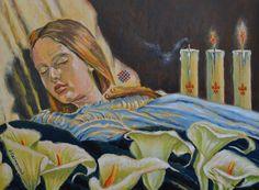 Królowa Jadwiga. Malowała Halina Kaźmierczak. Obraz olejny 80x60 cm