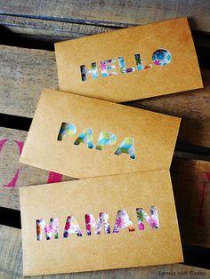 Tuto DIY gratuit pour créer des cartes à offrir très originales à texte. (sans machine de découpe)
