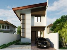 Collection: 50 Beautiful Narrow House Design for a 2 Floor Home With Small Lot - Bahay OFW Two Storey House Plans, Narrow Lot House Plans, 2 Storey House, 2 Story House Design, Small House Design, Modern House Design, Modern Bungalow House, Bungalow House Plans, Modern Farmhouse Plans