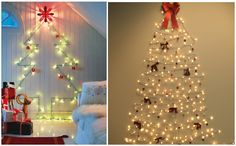 un arbol de navidad sin arbol  How to make a christmas tree without a tree  #christmaslights #DIY