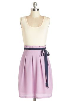 Scenic Road Trip Dress in Cream and Lavender. Dressed in this ModCloth-exclusive twofer dress by Pink Martini, you're ready for the adventures of the asphalt! NaN