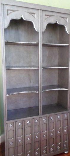 Silver Pewter Metallic Bookcase Vintage Drexel by savardstudios, $525.00