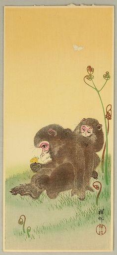 Ohara Koson (Shoson) Japanese Woodblock Print - Two Monkeys (item Japanese Prints, Japanese Art, Ohara Koson, Year Of The Monkey, Illustrations, Chinese Painting, Woodblock Print, Vintage Japanese, Asian Art