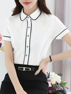 Specifications product name: short sleeve contrast trim blouse weight: Cute Blouses, Blouses For Women, Blouse Styles, Blouse Designs, Executive Fashion, Sewing Blouses, Neck Designs For Suits, Zeina, Uniform Design
