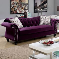 Furniture of America Dessie Traditional Tufted Sofa Set Someday 😍 Furniture Of America, Living Room Collections, Furniture, Apartment Living Room, Home Furniture, Purple Living Room, Sofa Set, Living Room Furniture, Room Decor