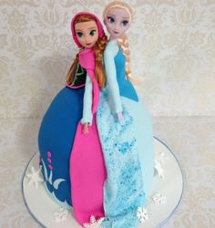 Elsa & Anna Dolly Varden style cake! Learn how to create this cake here - http://youtu.be/6UCCDBntXUo