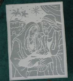 Mary, Joseph and Baby Jesus Filet Crochet Wallhanging / Doily on ebay and etsy