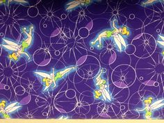 Retro Disney Tinkerbell Fabric  Fabric By by Quiltersmarketplace