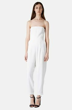 The bride to be should be in white all weekend in Napa! Topshop Tailored Strapless Jumpsuit | Nordstrom