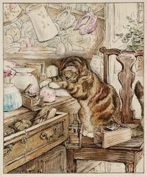 Simpkin hiding mice under teacups - from The Tailor of Gloucester