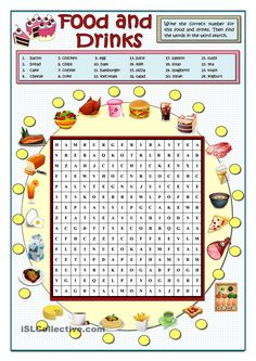 Food And Drinks Wordsearch - English Esl Worksheets English Games, English Activities, Food Vocabulary, English Vocabulary, Vocabulary Activities, English Lessons, Learn English, French Lessons, Spanish Lessons