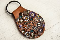 MOM leather key ring - Floral Pattern - hand painted and hand stamped - Your Choice of Key ring color