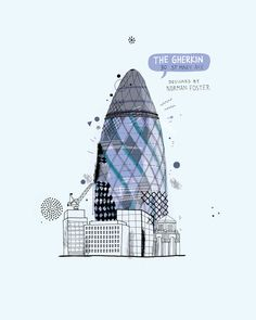 © All the Buildings in London: That I've Drawn So Far by James Gulliver Hancock, Universe, Building Illustration, Illustration Styles, Illustrations, Architecture Portfolio, Architecture Sketches, Gherkin London, Swiss Re, London Drawing, Perspective Art