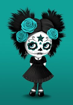 Teal Blue Big Eyes Sugar Skull Girl Playing the Guitar Art Print by Jeff Bartels - X-Small Sugar Skull Mädchen, Sugar Skull Tattoos, Sugar Skull Artwork, Day Of The Dead Girl, Day Of The Dead Skull, Candy Skulls, Rose Art, Gothic Art, Rose Tattoos