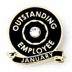 PinMart Outstanding Employee of The Month September w//Rhinestone Lapel Pin