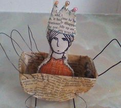 Hope.... paper mache pram and princess brooch by Shirlee McGuire