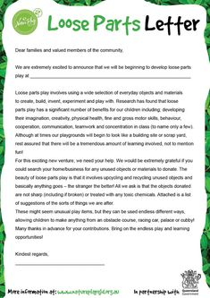 Loose Parts Play Letter and Wish List – Nature Play QLD - Kinderbetreuung Play Based Learning, Learning Through Play, Early Learning, Learning Activities, Teaching Resources, Learning Stories, Early Education, Early Childhood Education, Reggio Classroom
