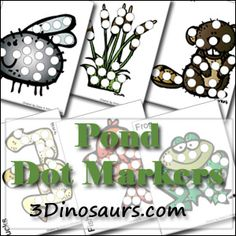 Free Pond Dot Marker Pages from 3 Dinosaurs