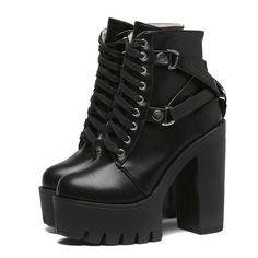 88234cbdd4b Lace Up Buckle Platform Boots. Thigh High ...