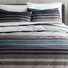 lloyd blue bed linens | CB2 -  I wish I could afford these! I love the grey and blue stripes