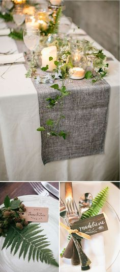 70 New Ideas For Wedding Table Garland Fern Deco Table Champetre, Wedding Colors, Wedding Flowers, Green Wedding, Spring Wedding, Green Table, White Wedding Cakes, Wedding Table Settings, Wedding Table Runners