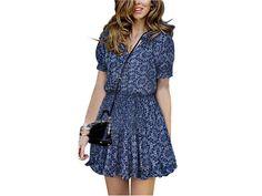 2016 Casual Sundress Mandarin Collar V-Neck Elastic Short Sleeve Print Beach Dresses Summer Vestidos Femininos *35