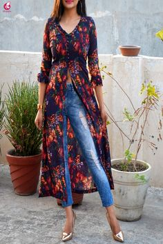 Buy Blue Printed Front Slit Georgette Long Kurti Online in India Kurta Designs Women, Kurti Neck Designs, Kurti Designs Party Wear, Blouse Designs, Simple Kurti Designs, Blue Fashion, Look Fashion, Indian Fashion, Fashion Outfits