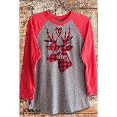 705db9f44c Oh Deer Christmas Buffalo Plaid Deer Head Antler Baseball T-Shirt Deer.