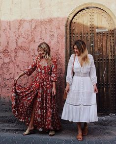 WEBSTA @ spell_byronbay - Roomies @emelinaah and @lisadanielle__ exploring the streets of Morocco in our Gypsy Dancer Gown and Olivia Luxe Lace Midi {selling fast!} ✈️ #spelltravel