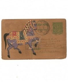 Indian miniature painting of horse, on vintage postcard Udaipur, India Stock Photo