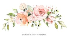 Similar Images, Stock Photos & Vectors of Watercolor Flowers Floral Illustration Leaf Buds - 1032867733 Free Watercolor Flowers, Floral Watercolor, Watercolor Drawing, Floral Bouquets, Floral Wreath, Wedding Cards, Wedding Gifts, Baby Clip Art, Flower Clipart