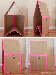cat house diy how to build a . cat house diy outdoor how to build Cardboard Houses For Kids, Cardboard Crafts Kids, Cardboard Dollhouse, Cardboard Playhouse, Diy Dollhouse, Cardboard Toys, Cardboard Box Ideas For Kids, Handgemachtes Baby, Carton Diy
