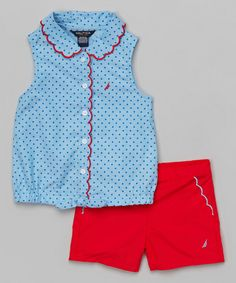 Look at this Light Blue Polka Dot Top & Red Shorts - Infant, Toddler & Girls on #zulily today!