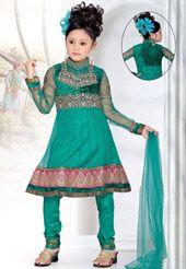 Green Net and Velvet Readymade Anarkali Churidar Kameez