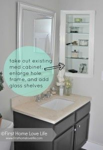 Replace medicine cabinet with a framed cut-out and glass shelves.