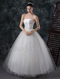 A-Line Ball Gown Princess Strapless Basque Satin Tulle Wedding Dress - US$ 279.99 - Style WD7201 - Helene Bridal