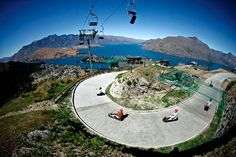New Zealand. The Skyline Queenstown complex sits high on Bob's Peak. Ride a 3 wheeled Luge Cart with a unique i braking and steering system allowing you to travel as slow or as fast as you dare! i rode these in rotura