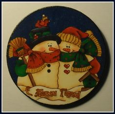 """""""Christmas Snowmen Couple"""". Christmas Horse. Home Décor magnet from my «Magnetic Force» collection. Made to order."""