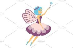 Flying fairy with magic wand by Bunny's Little Shop on @creativemarket
