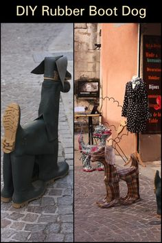 Don't you just love playful and creative garden art? This project shares tips for making garden art dogs from old rubber boots or wellies. Who says you can't teach old boots new tricks? Old Boots, Real Dog, Recycling Ideas, New Tricks, Garden Art, Making Out, Diy Projects, Creative, Dogs