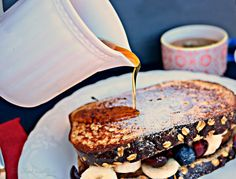High Protein French Toast Sandwich stuffed with fresh fruit. Each slice has 14 satisfying grams of protein. - The Foodie Affair Breakfast Items, Best Breakfast, Breakfast Recipes, High Protein Vegetarian Breakfast, French Toast Sandwich, My Favorite Food, Favorite Recipes, Healthy French Toast, Healthy Food Choices