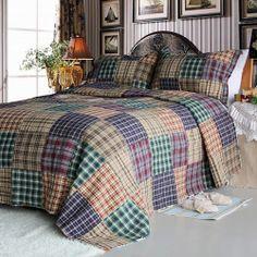 Patchwork Teen Boy Bedding 3pc Queen Quilt Set Brown Blue & Green Bedspread