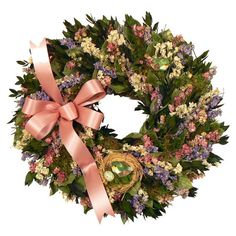 "Adorned with pink and lavender larkspur and a 2-tone pink ribbon, this charming wreath is a welcoming accent in the entryway or displayed above your mantel. Construction Material: Silicone; Color: Green, pink and white; Features: Includes natural leaves, myrtle, larkspur, moss and birdnest with faux eggs; Handmade; Dimensions:	18"" Diameter x 5"" D; Cleaning and Care:	Avoid sunlight, moisture, heat and humidity. Wipe clean with a dry cloth. ..."
